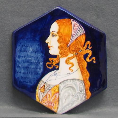 Ritratto di donna rinascimentale su maiolica