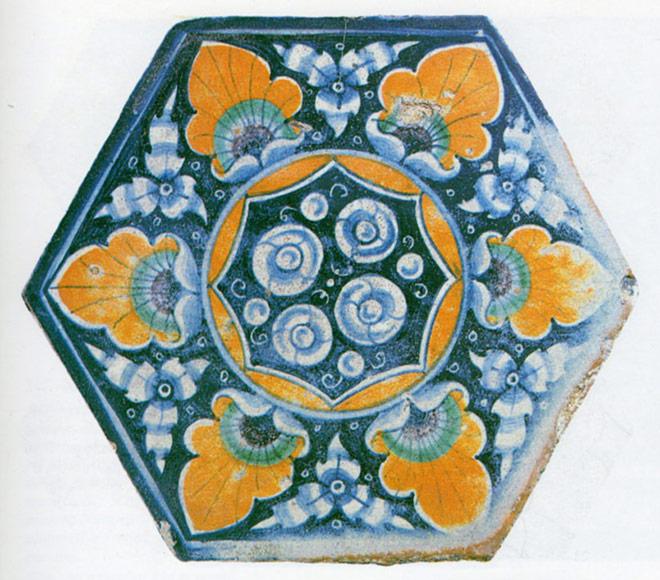 mattonella esagonale decorata a occhio di penna di pavone