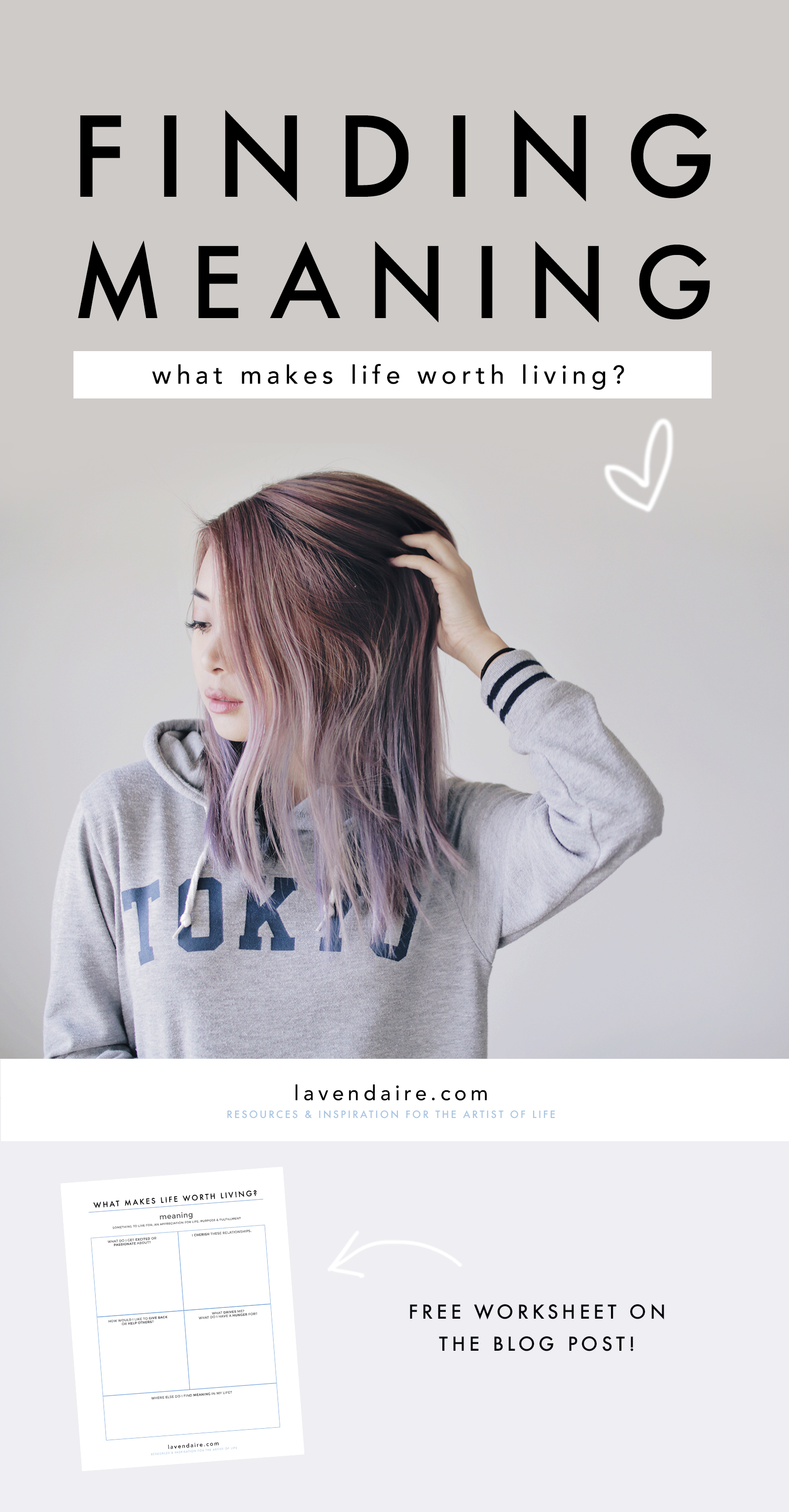 Free worksheet on finding meaning in life | lavendaire lifestyle design & personal growth