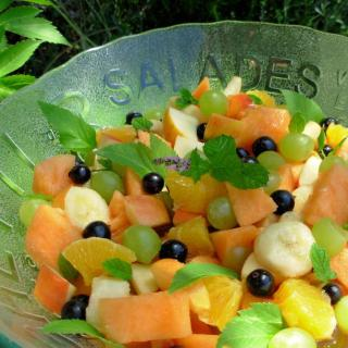 Herbs on Saturday ~ Peachy Fresh Fruit Salad with a Flourish of Angelica and Mint