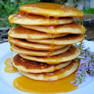 French Lavender Pancakes With Lavender Honey