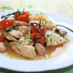 Cod with butter beans and cherry tomatoes