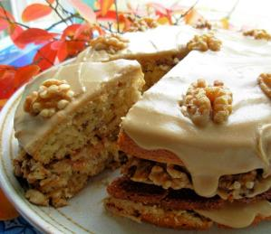 Maple Syrup & Walnut Layer Cake with Fudge Frosting