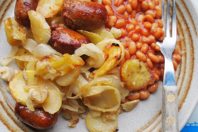 Sausage, Onion & Potato Bake