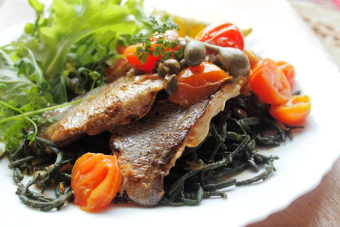 Pan-Fried Sea Bass Fillets in a Pastis & Caper Sauce