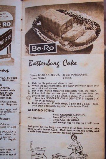 1950's Retro Cookbook by Be-Ro Flour - Battenburg Cake