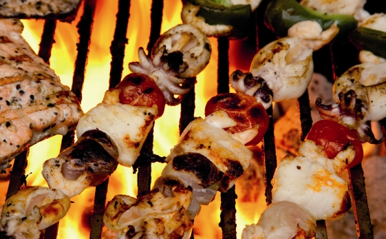 Fresh BBQ Seafood-Kebab