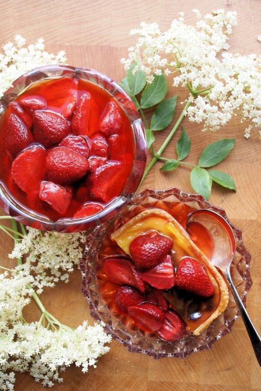 Strawberries and Flowers for Tea - Strawberry & Elderflower Cake and Tart Topping
