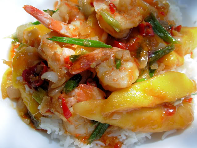 Fish on Friday with King Prawns - Chilli Prawn Stir-Fry with Mangoes