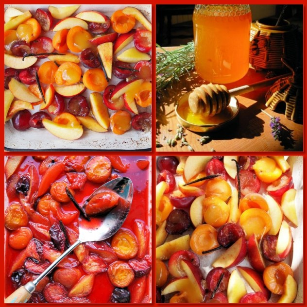 Lavender Honey Roast Stone Fruits with Vanilla