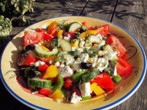 Greek Pepper Salad with Feta Cheese and Mint Dressing = 200 calories