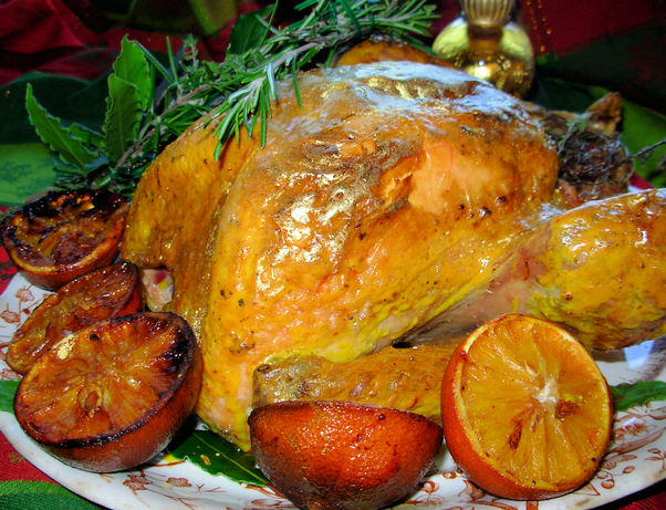 A Historical Roast Turkey Recipe: Gilded Saffron & Butter Basted Turkey with Herb Garland