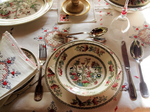 Day Two on the Advent Calendar, Antique Linen and Indian Tree China