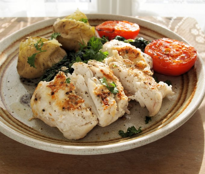 Pan-Fried Garlic and Peppered Hake Fillets