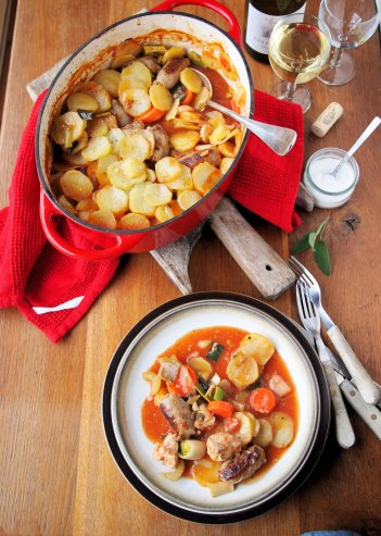 """Five-A-Day Family Supper Recipe: """"Sunday Lunch"""" Chicken, Sausage and Vegetable Hotpot"""