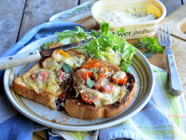 Smoked Cheese and Cherry Tomato Rarebit: On Toast Snack or Light Supper Recipe