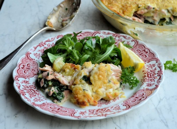 Salmon & Vegetable Cheesy Bake