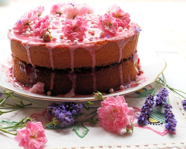 Cakes Galore And My Vanilla Strawberry Rose Victoria Sandwich Cake