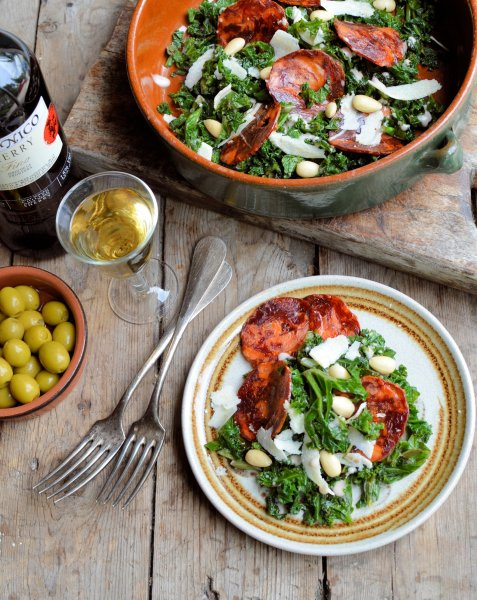 Tapas Days and Nights: Warm Curly Kale Salad with Almonds, Chorizo and Sherry Dressing