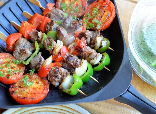Easy Summer Dining: Bourbon Beef and Pepper Skewers and Accompaniments (Sous Vide)