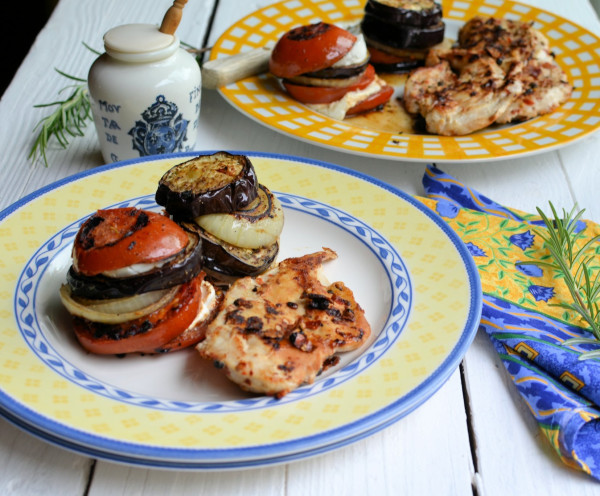 La Plancha Cooking: Chilli Peppered Chicken Steaks & Mediterranean Goat's Cheese Vegetable Stacks