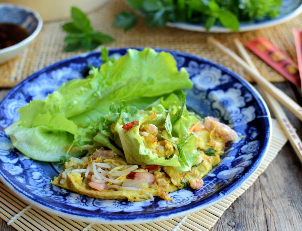 Vietnam visits a French Country Kitchen! Crispy Coconut Crepes with Prawns