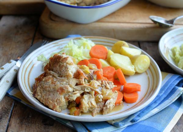 Frugal Family Fare Roast Chicken & Ham Pie with a Suet Dumpling Crust