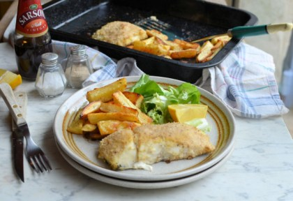 Baked Hake with Oven Chips