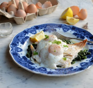 Poached Eggs and Smoked Haddock with Spinach