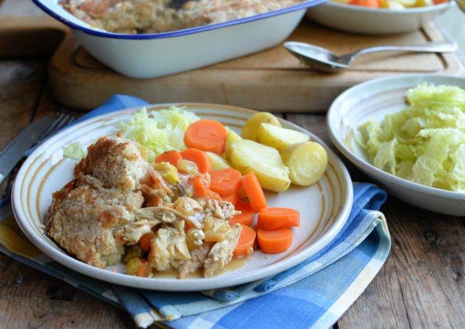 Roast Chicken & Ham Pie with a Suet Dumpling Crust