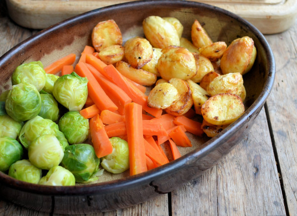 Roast Potatoes, Sprouts and Carrots
