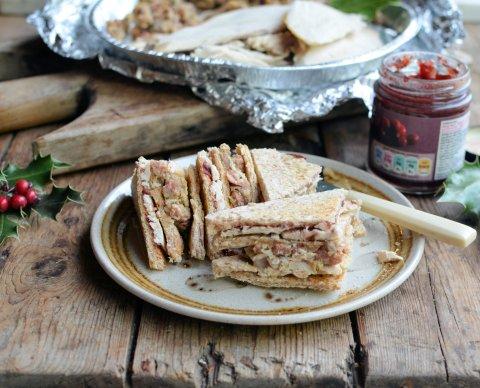 Turkey, Stuffing, Bacon & Cranberry Club Sandwich