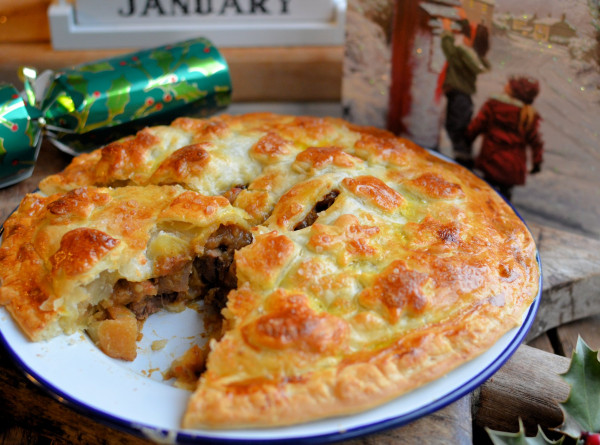 Curried Beef & Apricot Pie with a Salt Glaze Crust