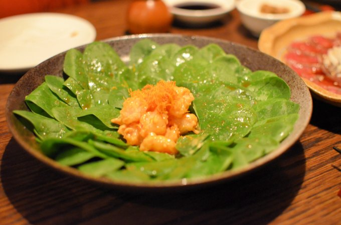 Horenso Salad with Spicy Prawns