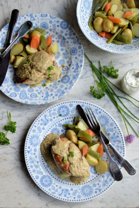 Pan-fried Smoked Cheese & Ham Stuffed Chicken Breasts in a Creamy Herb Sauce