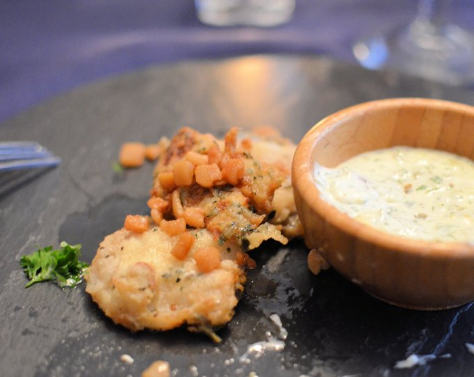 Newfoundland Cod Tongues with Scrunchions at The Reluctant Chef