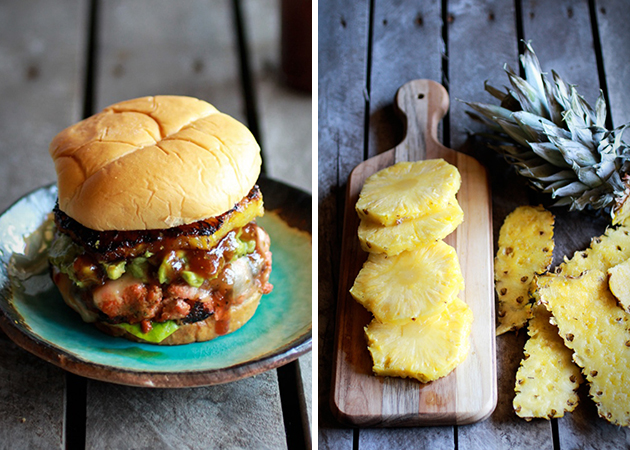 HAWAIIAN BBQ SALMON BURGER WITH COCONUT CARAMELIZED PINEAPPLE