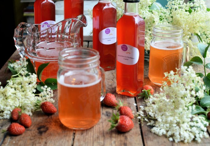 Magical Midsummer's Eve: Elderflower and Strawberry Cordial/Syrup