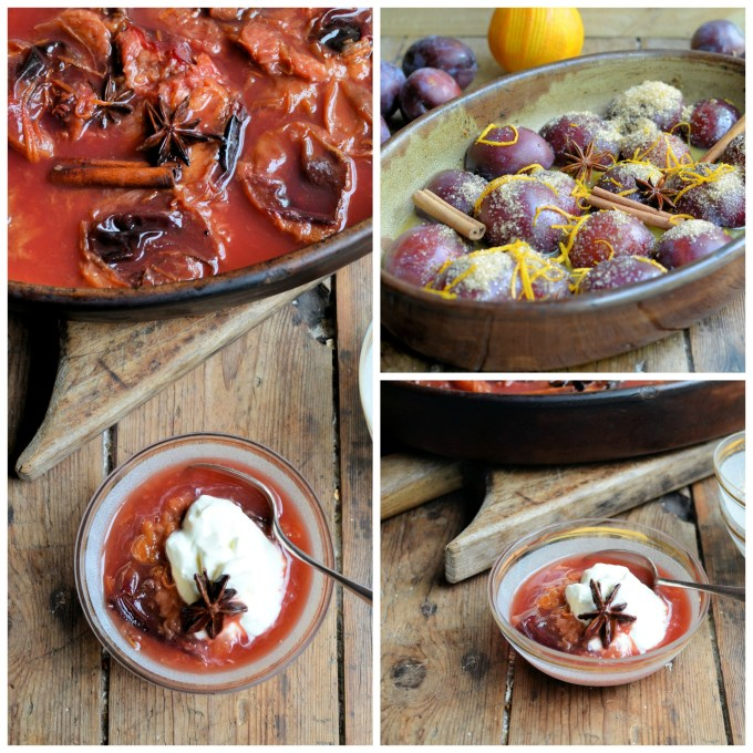 Spiced Oven Poached Plums with Orange, Star Anise and Cinnamon (For an easy weekend or weekday dessert)