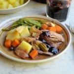 Slow Cooked Beef Brisket with Elderberry Glaze and Port Jus
