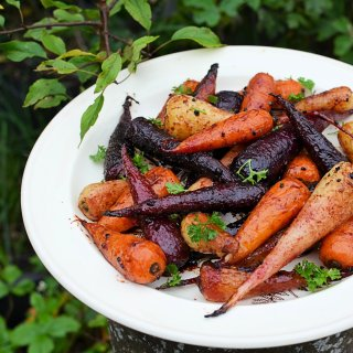 British Carrots: Sticky Roast Chantenay Carrot Medley with Pomegranate Molasses