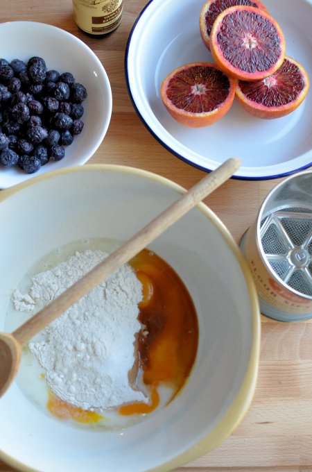 Dutch Baby Oven Pancake with Blood Oranges and Blueberries
