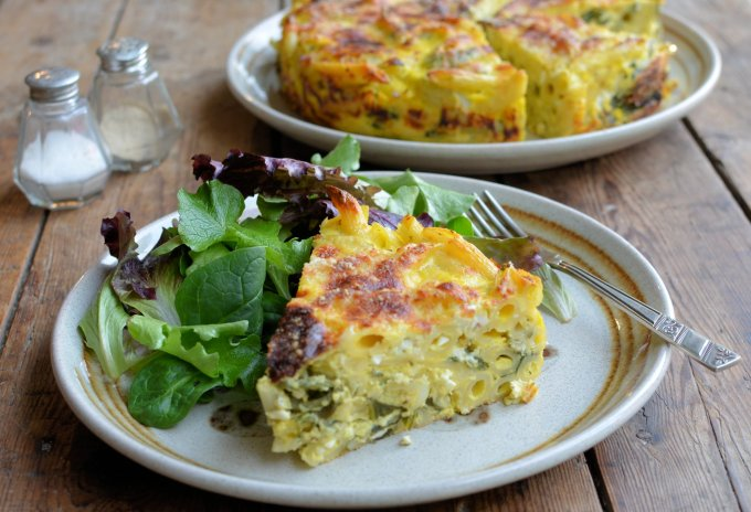 A Vegetarian Light Lunch: Three Cheese and Swiss Chard Pasta Bake Cake