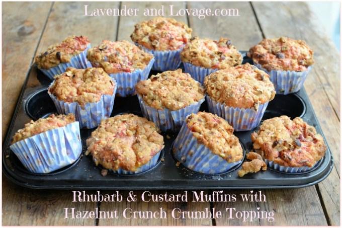Rhubarb & Custard Muffins with Hazelnut Crunch Crumble Topping