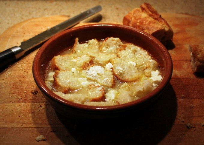 Popara  (A meal made with pieces of bread with milk, oil and cheese)