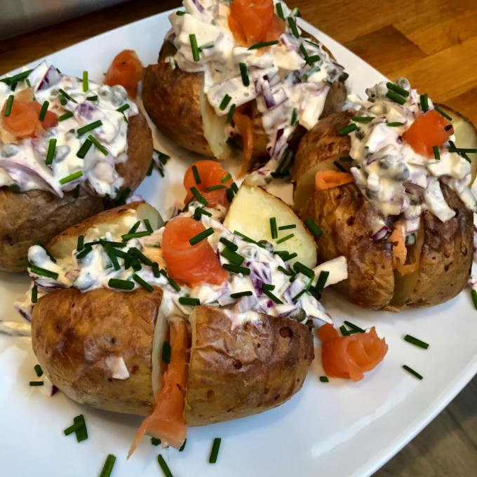 Baked Potatoes with Smoked Salmon
