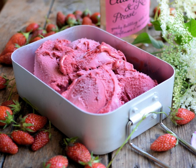 Magical Midsummer: Elderflower, Rose and Strawberry Sorbet