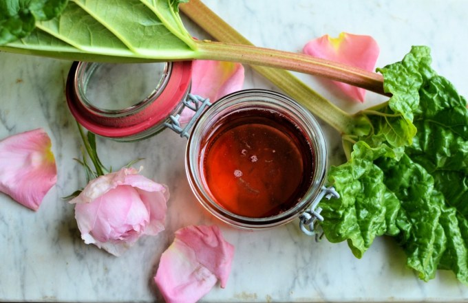 Rhubarb, Rose and Strawberry Syrup