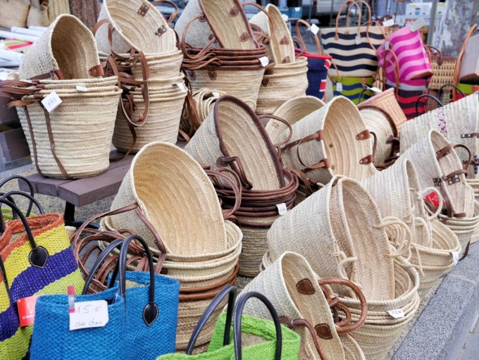 Baskets on a market in Vaison la Romaine