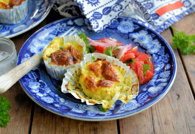 Baked Mini Cheese & Onion Omelettes